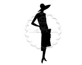 Vintage Woman Silhouette Die Cut for Scrapbooking or Cardmaking