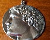 Huge vintage Roman Greek coin pendant necklace
