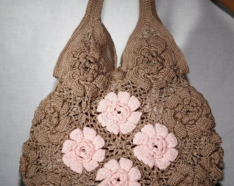 Crochet Egyptian Cotton Shoulder Bags with Rose details