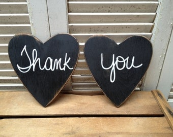 Distressed Black and White Thank You Wedding Photo Prop Signs Black Wooden Wedding Hearts