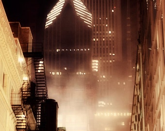 Chicago Photography - Foggy Downtown Chicago,            Chicago at Night, City Photography