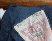 Jean Jacket, Farm Girl, Denim Jacket, Corn Seed Sack, Re-purpose, Upcycle, Frey Hybrid