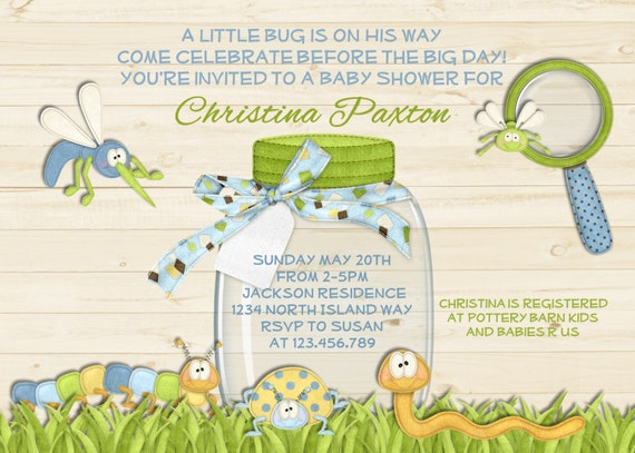 Rustic White Wood Bug Boy Baby Shower Invitation