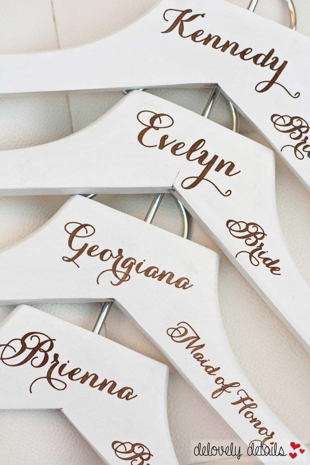 1 personalized white wedding dress hanger with wedding party for Personalised wedding dress hanger