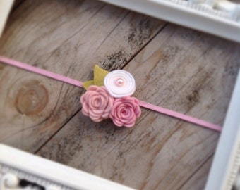 Pink and White Felt Rosette Headband Newborn Photography Prop Baby Flower Headbands Felt Flower Headbands