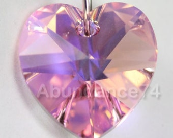 Swarovski Crystal 6228 6202 Faceted Xilion Heart Pendant LIGHT ROSE AB - Available in 10mm and 14mm