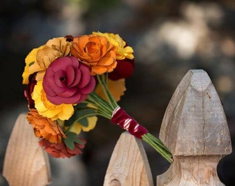 """Fall wedding flower, featured on Hostess with the Mostess """"fall in Love"""" theme, fall paper flower wedding bouquet, wild flowers and roses"""