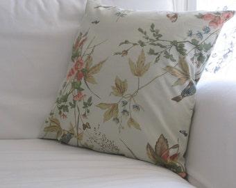 Schumacher Fabric Neutral Floral Pillow Cover, Chair Pillow,Decorative pillow,Neutral Beige Pillow,Neutral Home Decor,Bird Pillow