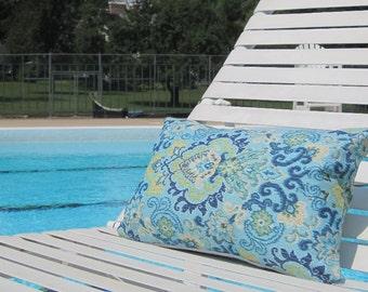 """Outdoor Pillows, Blue Outdoor Pillows, Paisley Outdoor Pillows, Lumbar Pillows,12""""x18"""" inch decorative pillow,outdoor decor,kid friendly"""