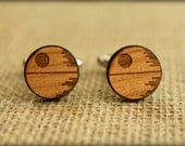 Star Wars Cuff Links, Laser Cut Wood, 9 Styles to Choose From