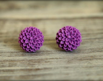 Matte Puffy Mum Flower Earring Studs, Multiple Colors Available