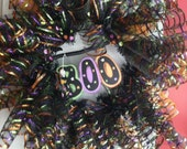 Halloween Wreath with Witches Broom black spooky boo