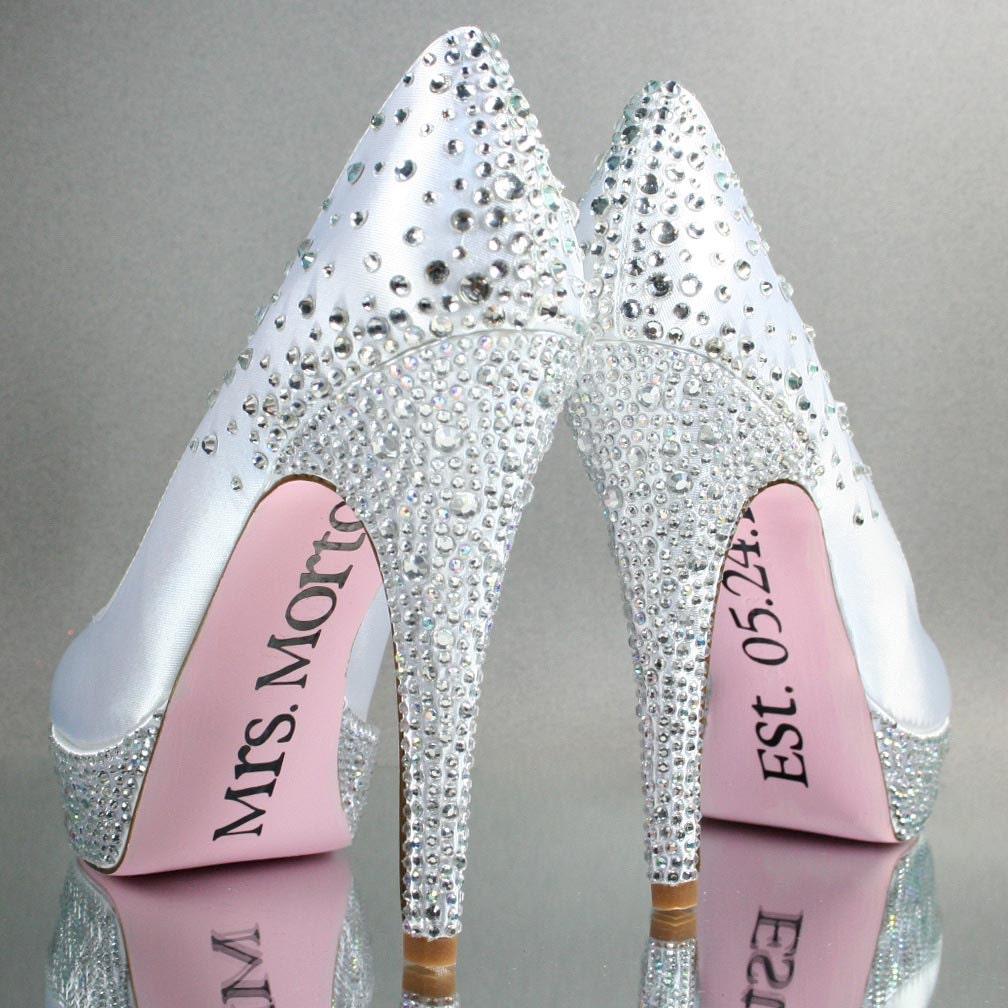 Rhinestone Wedding Heels: Wedding Shoes White Platform Wedding Shoes With Rhinestone