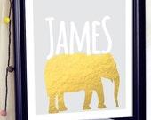 Personalized Name Art - Elephant Nursery Art - Baby Name Art Personalize Gift - Personalized Baby Name Art - Personalized Baby Boy Gift