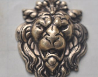 Scary Lion Brass Stamping, Brass Ox