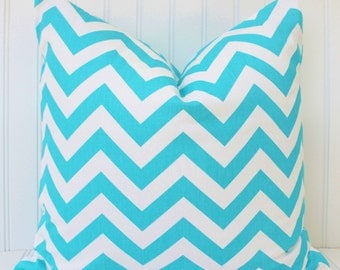 Blue Pillow, Throw Pillow, Aqua Blue Pillows, Chevron Pillows, Blue White Stripe Pillow, Accent Pillow, All Sizes