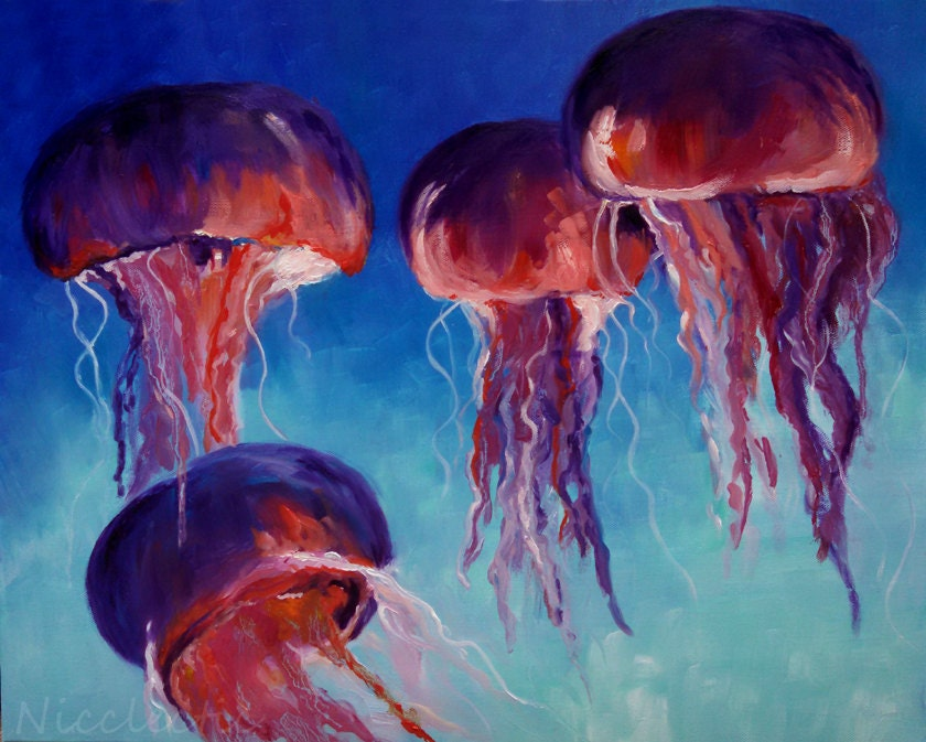 Jellyfish ocean colorful jelly fish artwork pink and for Jelly fish painting