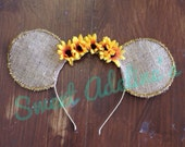 Fall Sunflower and Gold Sparkle Minnie Mouse Ears