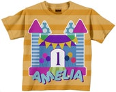Bounce House Shirt, Personalized Girls Bouncehouse Birthday Number T-Shirt, Princess Castle Birthday Shirt