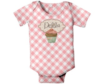 Cupcake Baby Bodysuit, Personalized Infant Girl One-Piece, Gingham Cupcake Baby Shirt