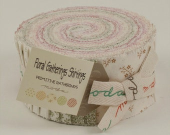 Floral Gatherings Shirting Fabric Collection by Primitive Gatherings   - 1 Jelly Roll