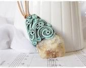 Druzy Amazonite Pendant, Celtic Elven Necklace, Elvish Pendant, Raw Stone Necklace, Spiritual Pendant, Pixie Pendant, Fairy Wicca Necklace