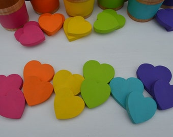Montessori Counting Hearts Wooden Rainbow Sensory Toy