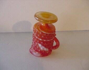 "Mid-Century 70's Hobnail KANAWHA PITCHER Hand Crafted Kitchen Art Glassware Red Orange Gold White Swirls USA 3 3/4"" H"
