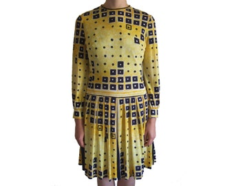 1960's Pierre Cardin dress yellow 'Jersey Couture' graphic print dress Small UK 8 10