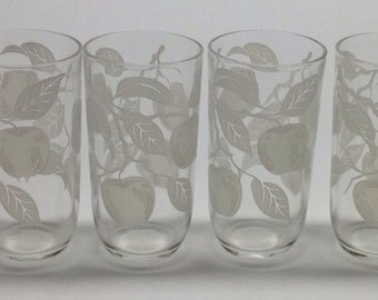 Vintage Drinking Glasses Frosted apples 6 oz  5 x 3  6 glasses