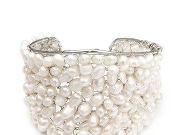 Freshwater Pearl Bridal Wedding Cuff