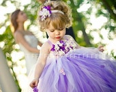 Purple Flower Girl Dress, Tutu Dress