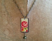 "Tin Jewelry Necklace ""Cabbage Rose"" Tin for the Ten Year Anniversary RESERVED FOR dbrakefield2"