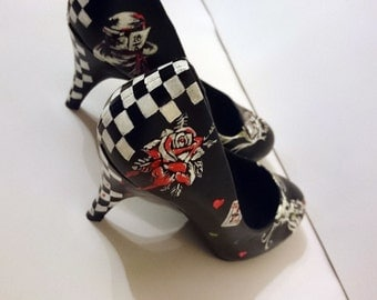 Alice in Wonderland chequered high heel shoes ladies - custom Hand painted and made to order.