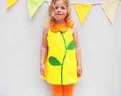 Yellow Flower Collar Girls Dress in cotton canvas 60's style