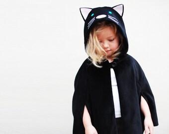 Cat cape costume dress up handmade black velvet