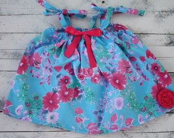 Turquoise and pink, infants,toddler summer,sun dresses for pictures,beach,weddings,flower girl dress