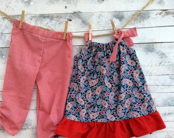 Girls two piece set paisley print,toddler clothes,children clothing navy blue and red