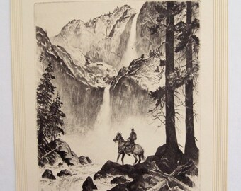 Vintage 1940's R.H. Palenske Yosemite Print