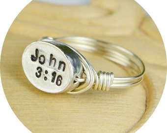 Any Bible Verse Ring-Sterling Silver, Yellow or Rose Gold Filled Wire Wrap with Hand Stamped Christian Bead-Size 4,5,6,7,8,9,10,11,12,13,14