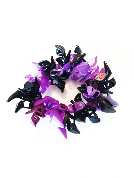 RockNRoll PurpleNBlack Doll Shoe Bracelet(c) by Sara Gallo