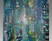 Abstract Cerulean Blue Acrylic Textured Mixed Media Suburban Painting Floating Canvas Original 16x20-Sherischart