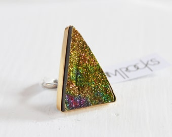 Supernova Ring- Rainbow Pyrite Ring, Sparkly Pyrite Druzy Ring, Triangle Gemstone Statement Ring