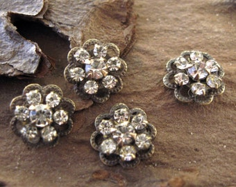 Small Crystal Rhinestone Flower Findings Swarovski Connectors 10mm (4)