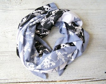 Vintage Square Scarf, Mid Century Mad Men Fashion Scarf Black White, Leaves Butterflies, Retro Elegant Mod Scarf, Soft Headband Head Cover