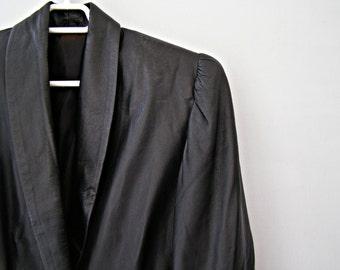 80s Leather Coat Jacket M L,  Vintage Grunge Distress Coat, Biker Rocker Waist Coat, Puffy Shoulders Jacket, Avant Garde Steampunk Fashion