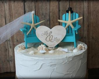Adirondack beach wedding chairs-miniature Adirondack chairs-wedding cake topper-beach chairs-beach wedding-destination wedding-beach-custom