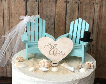 Custom Adirondack chairs wedding cake topper-beach wedding-destination wedding-beach-chairs