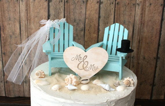 beach themed wedding cake toppers custom adirondack chairs wedding cake topper 11154