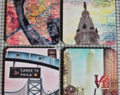 Coaster Set. Philadelphia Rocky City Hall Ben Franklin Love Park Cork Back Home Accessories